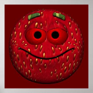 Emoticon de la fresa póster