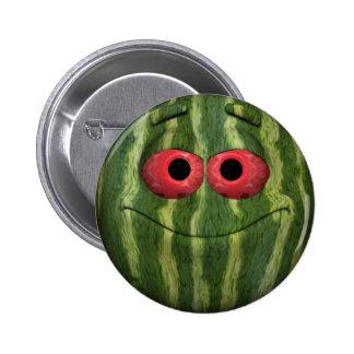 Emoticon de la sandía pin redondo de 2 pulgadas