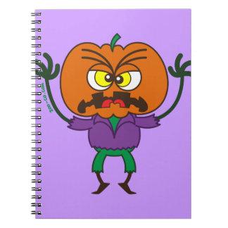 Emoticon de susto del espantapájaros de Halloween Libreta Espiral