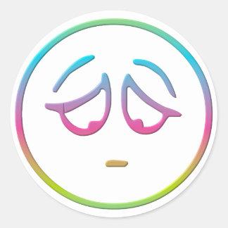 "Emoticon ""Dejected"" Classic Round Sticker"