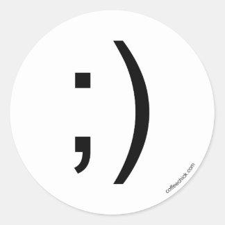 Emoticon del guiño pegatina redonda