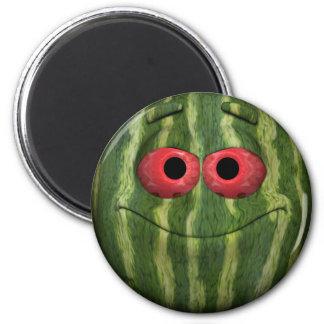 Emoticon divertido de la sandía imán redondo 5 cm