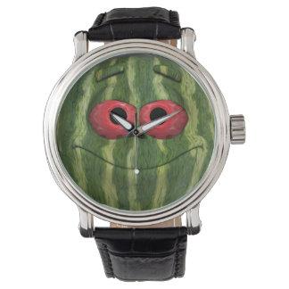 Emoticon divertido de la sandía reloj de mano