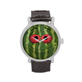 Emoticon divertido de la sandía relojes