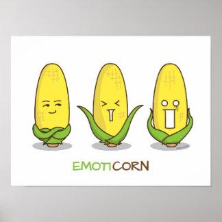 Emoticon divertido lindo Emoticorn del maíz Póster