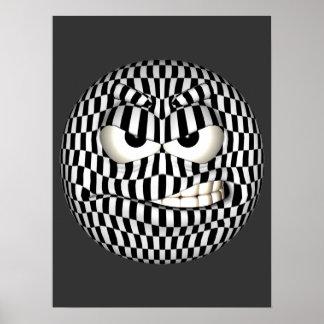 Emoticon enojado de la cara póster