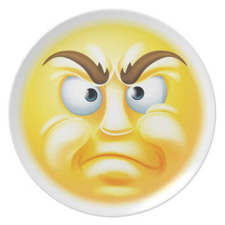 Emoticon enojado o de desaprobación Emoji Platos