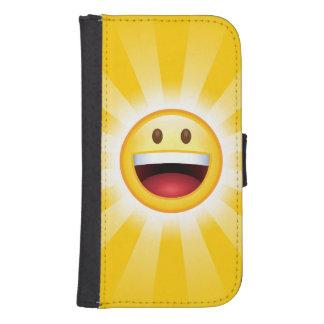 Emoticon feliz de la cara billetera para teléfono