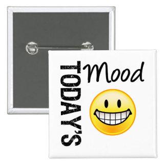 Emoticon muy feliz de hoy del humor pin cuadrado