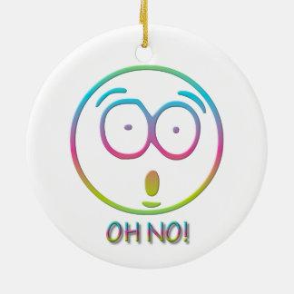 """¡Emoticon """"oh no! """" Adorno Navideño Redondo De Cerámica"""
