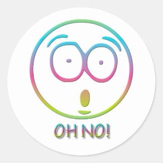 "¡Emoticon ""oh no! "" Pegatina Redonda"
