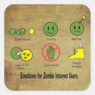 Emoticon para los usuarios de internet del zombi pegatina cuadrada