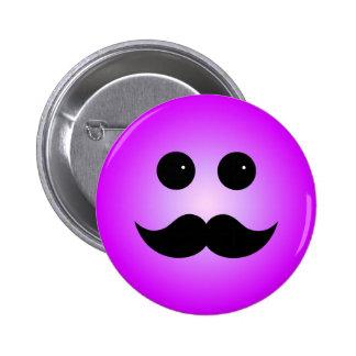Emoticon púrpura del smiley del bigote pin