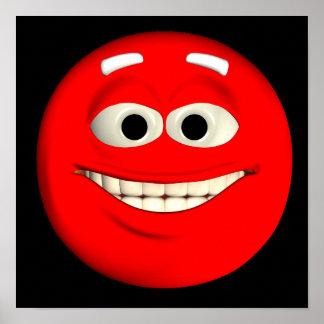 Emoticon rojo póster
