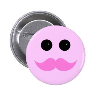 Emoticon rosado del smiley del bigote pin redondo de 2 pulgadas
