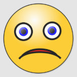Emoticon sad face classic round sticker