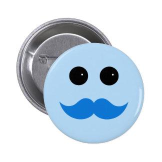 Emoticon sonriente azul del bigote pin
