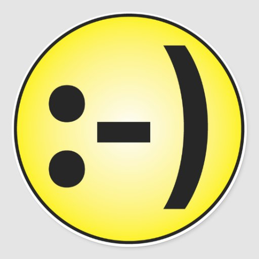 Emoticon sonriente etiqueta redonda