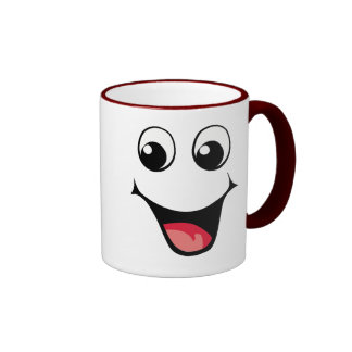 Emoticon sonriente feliz taza
