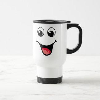 Emoticon sonriente feliz taza de café