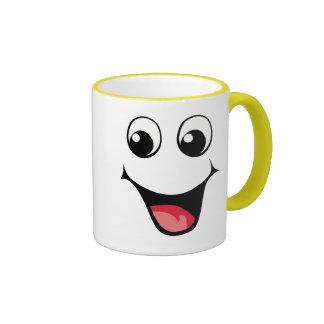 Emoticon sonriente feliz tazas