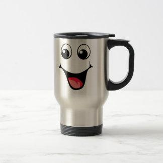 Emoticon sonriente feliz tazas de café