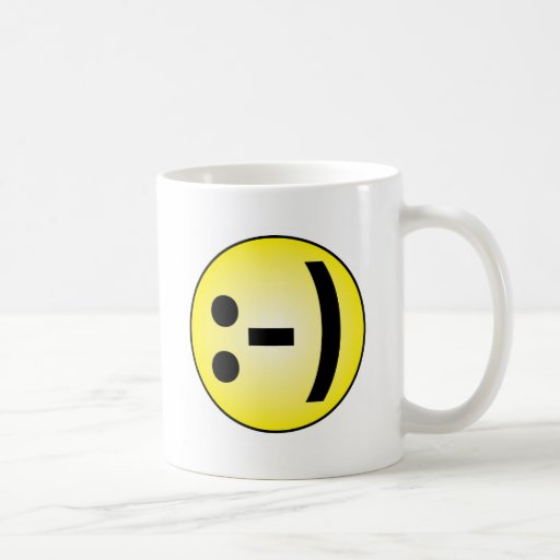 Emoticon sonriente taza de café