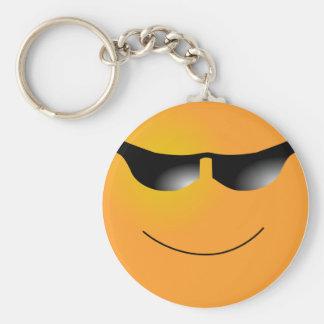 Emoticon Sunglasses Basic Round Button Keychain