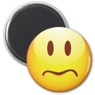 Emoticon triste imán redondo 5 cm