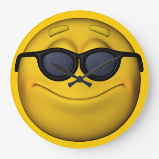 Emoticon With Sunglasses Large Clock