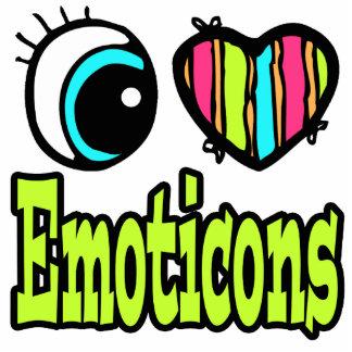 Emoticons brillantes del amor del corazón I del oj Llavero Fotográfico