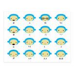 Emoticons del mono postales