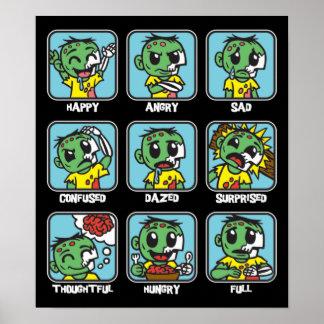 Emoticons del zombi póster