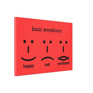 Emoticons, feliz, triste y confuso impresiones en lona estiradas