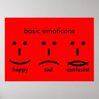 Emoticons, feliz, triste y confuso póster