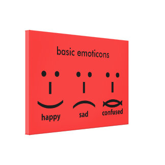 Emoticons, Happy, Sad and Confused Canvas Print