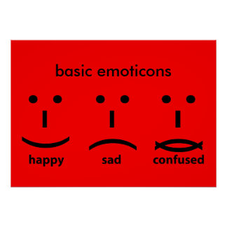 Emoticons, Happy, Sad and Confused Poster