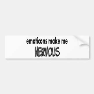 Emoticons Make Me Nervous, Black & Gray Bumper Sticker