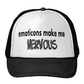 Emoticons Make Me Nervous, Black & Gray Trucker Hat