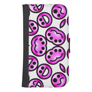 Emoticons púrpuras divertidos del dolor cartera para teléfono