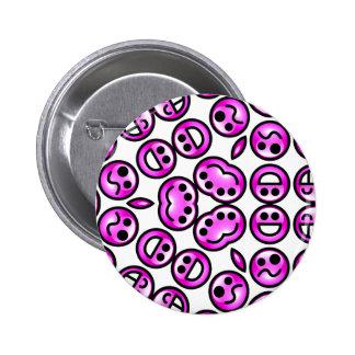 Emoticons púrpuras divertidos del dolor chapa redonda 5 cm