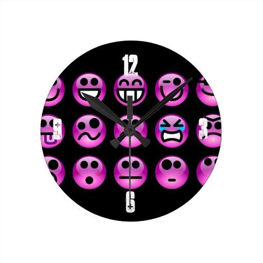 Emoticons púrpuras reloj