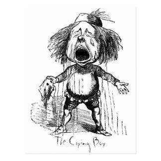 Emotional Crying Boy Funny Vintage Cartoon Drawing Postcard