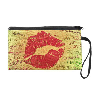 emotional kiss red wristlet purse