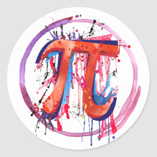 Emotional Pi, Action Painting Art Classic Round Sticker