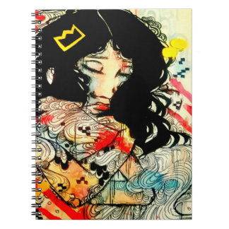 Emotional watercolor and ink art portrait drawing note books