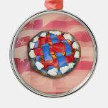 Empanada blanca y azul roja en vieja gloria ornatos