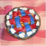 Empanada blanca y azul roja en vieja gloria esculturas fotograficas