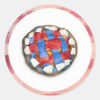 Empanada blanca y azul roja en vieja gloria pegatina redonda