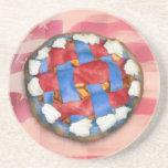 Empanada blanca y azul roja en vieja gloria posavaso para bebida